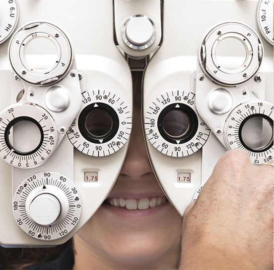eye care: Person undergoing eye testing